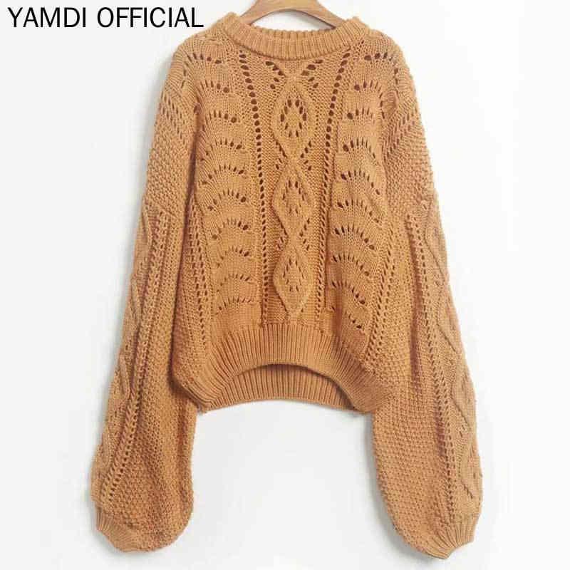 YAMDI sólido albaricoque amarillo punto suéter mujer Vintage cuello redondo ahueca hacia fuera mujeres 2019 Otoño Invierno suéteres Pullo