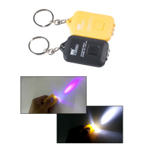 Keychain flashlight UV counterfeit mini LED solar powered torch