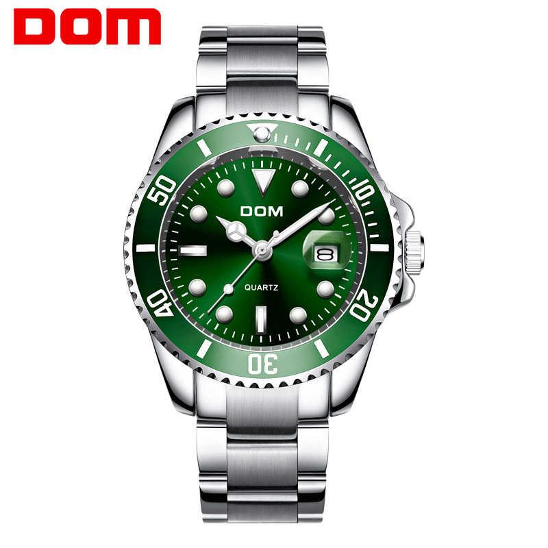 DOM トップブランドの高級メンズスポーツ腕時計グリーン防水ステンレス鋼腕時計男性時計ファッション腕時計 M-1263D-3M