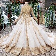 Htl392 vestidos de casamento de luxo para mulher muçulmana alta pescoço manga longa rendas até o chão comprimento princesa vestidos de noiva dourado mariage