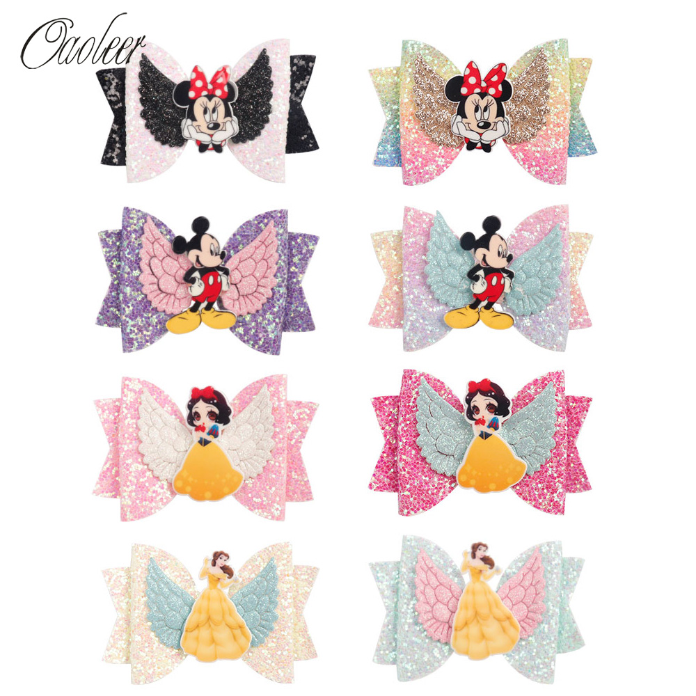 Oaoleer Hair Accessories 8 pcs/Lot Princess Hairgrips Glitter Hair Bows with Clip Dance Party Bow Hair Clip Girls Barrettes