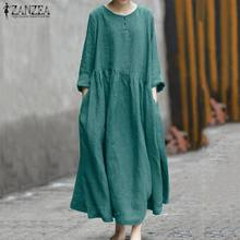 Plus Size Vintage Cotton Linen Dress Women O Neck Long Sleeve Solid Maxi Sundress ZANZEA Autumn Kaftan Vestido Long Robe Femme