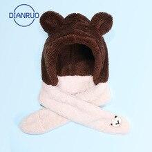 Hooded Scarf Neck-Warmer Faux-Fleece Winter Cute Bear R656 3-In-1 Kids LINLING Gloves-Set