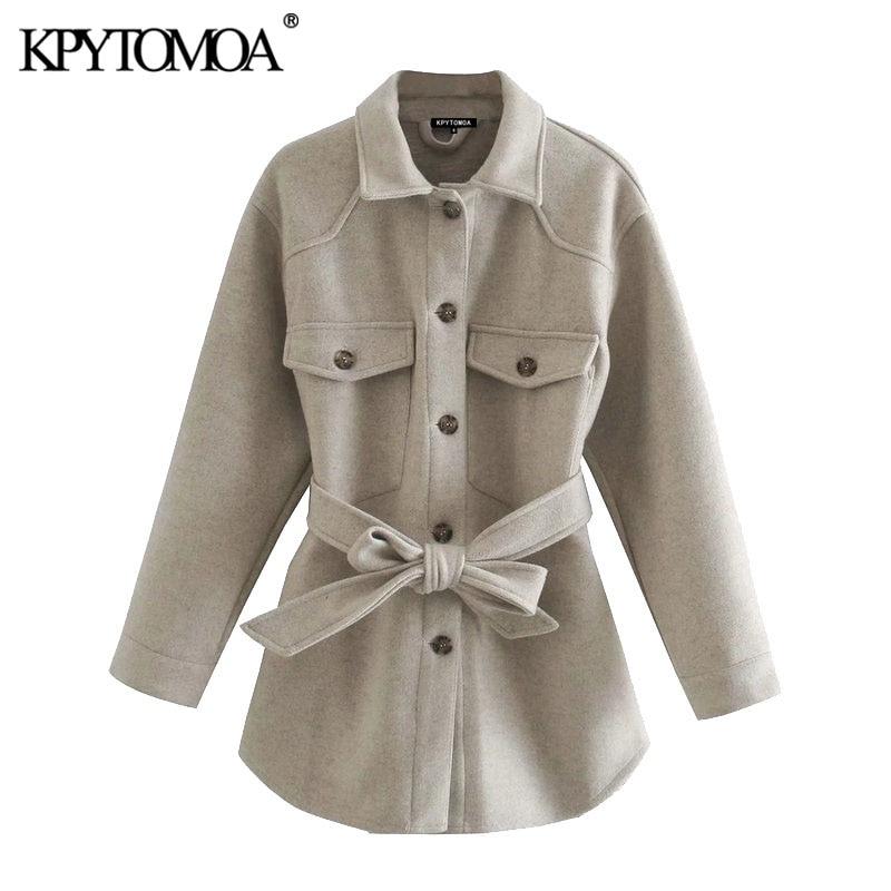 KPYTOMOA Women 2021 Fashion With Belt Loose Woolen Jacket Coat Vintage Long Sleeve Side Pockets Female Outerwear Chic Overcoat