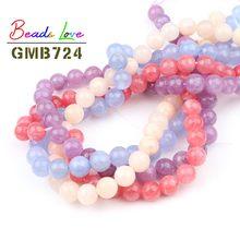 Atacado natural azul rosa angelite pedra redonda contas para fazer jóias diy pulseira colar beadwork 4 6 8 10 12mm 15 polegadas