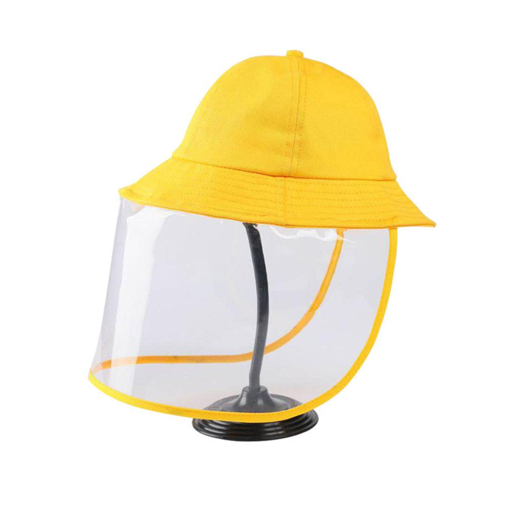 Children Protective Face Mask Cap Outdoor Fisherman Yellow Dust-proof Anti Splash Mask Full Face Cover Removable Hat  Safety