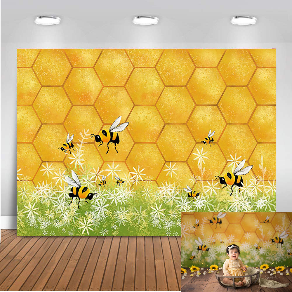 gold glitter Honey bee backdrop for photography newborn baby portrait background for photo studio supplies party decoration prop