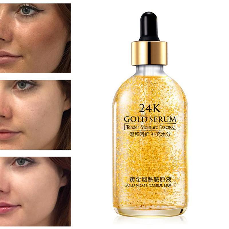 24k Gold Moisture Shrink Pore Bulky Repair Female Male Hyaluronic Acid Fluid 30ml/100ml Anti-wrinkle Gold