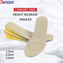 3ANGNI High Quality EVA Surpport Height Increase Insole 3 Size Cowhide Skin Shoe for Women Men Double Side Available