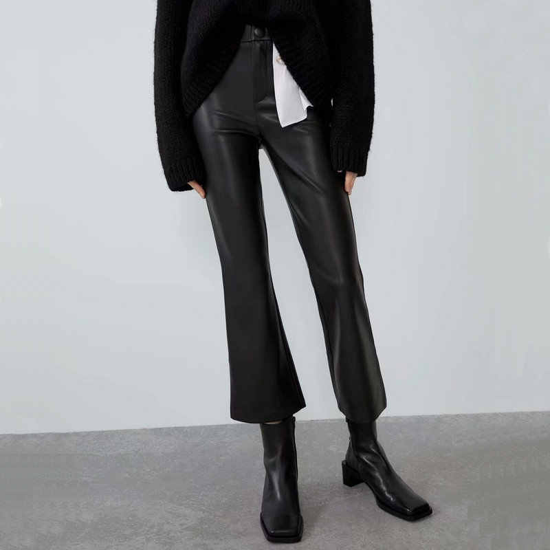 2020 New Fashion Women Black PU Faux Leather Full Length Bell-bottomed Pants Lady Autumn Hight Waist Bodycon Boot Cut Trousers