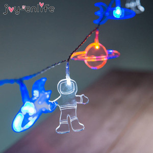 Outer Space Party 1.5m 10LED Lights Astronaut Rocket Mars Spaceship String Light Galaxy Solar System Party Boy Birthday Supplies(China)