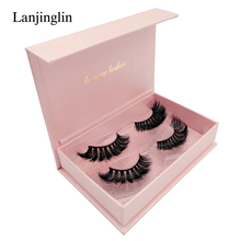 LANJINGLIN natural long false eyelashes 2 pairs volume 3d mink lashes hand made makeup strip fake #802