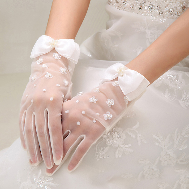 Summer Sun Protection UV Cycling Driving Gloves Sexy Lace Rhinestone Formal Dress Gloves Bow Short Fingerless Pearl Mittens H8