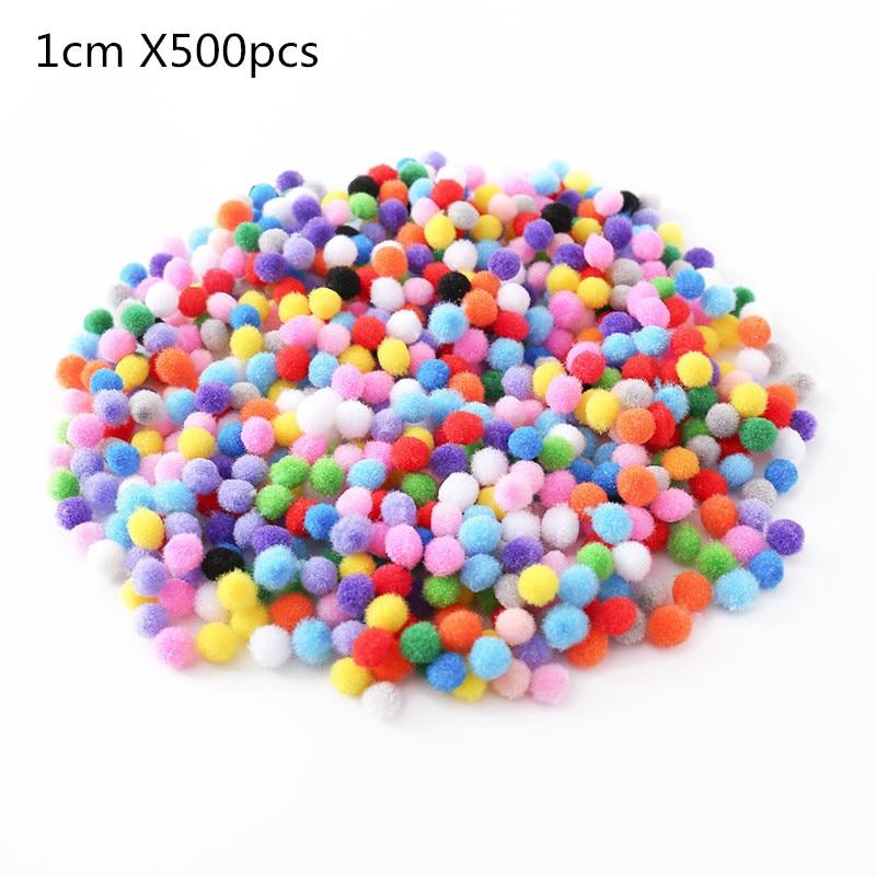 500 шт 10 мм мягкие круглые пушистые Помпоны разноцветные DIY украшения 200 шт 1,5 см - Цвет: 1x500pcs