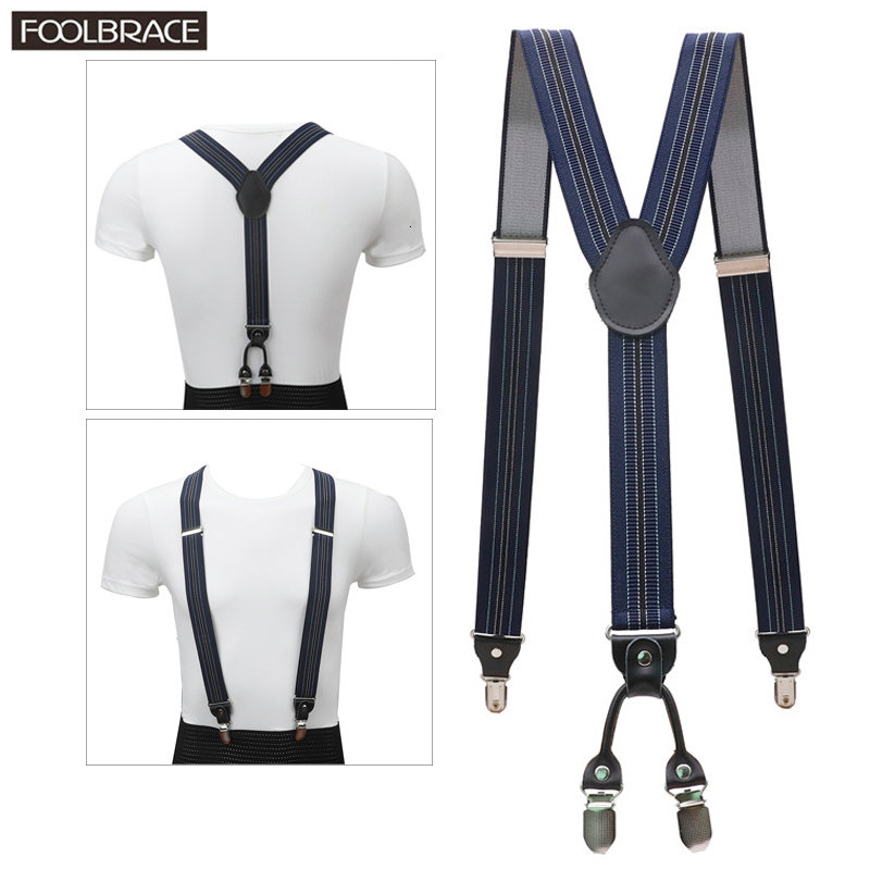 4 Clip Men's Suspenders Men Braces Supports Tirantes Real Leather For Women Elastic Adjustable Pants Straps Clothing 3.5cm Width