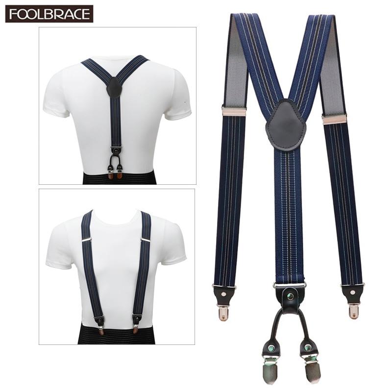 4 Clip Men's Suspenders Men Braces Supports Tirantes Real Leather For Women Elastic Adjustable Pants Straps Clothing 3.5cm Width