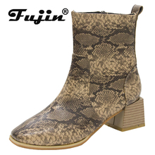 Fujin Women Boots High Heel Thick Pointed Zip Sewing Fashion Large Size Dropshipping Autumn Winter Snake Print