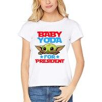 Модная женская футболка с рисунком из мультфильма «Звездные войны», забавная уличная футболка с изображением Йоды, мандалорской Галактики,...