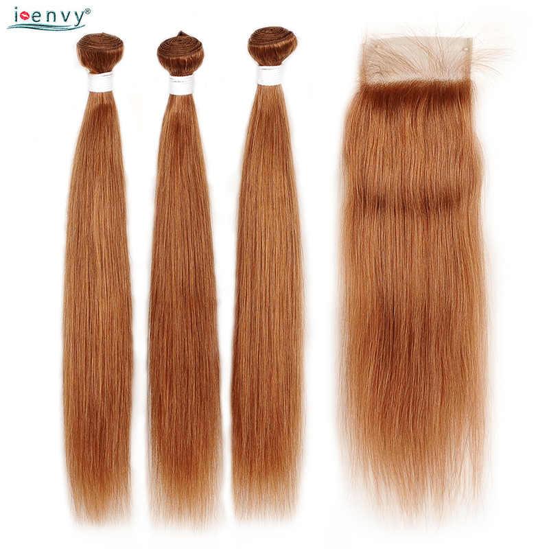 Aku Iri Emas Pirang Bundel dengan Penutupan Lurus Berwarna 30 Rambut Manusia Bundel dengan Penutupan Brasil Rambut Menenun Tidak Jahat