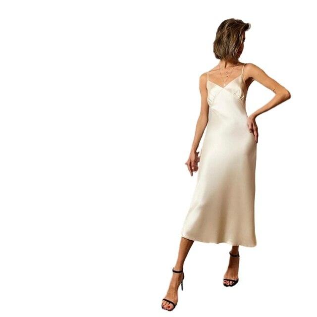 2021 Women Satin Deep V Neck Sexy Dress Solid Straight Pajamas Party Dress Elegant Female Summer Spaghetti Strap Dress Casual 5