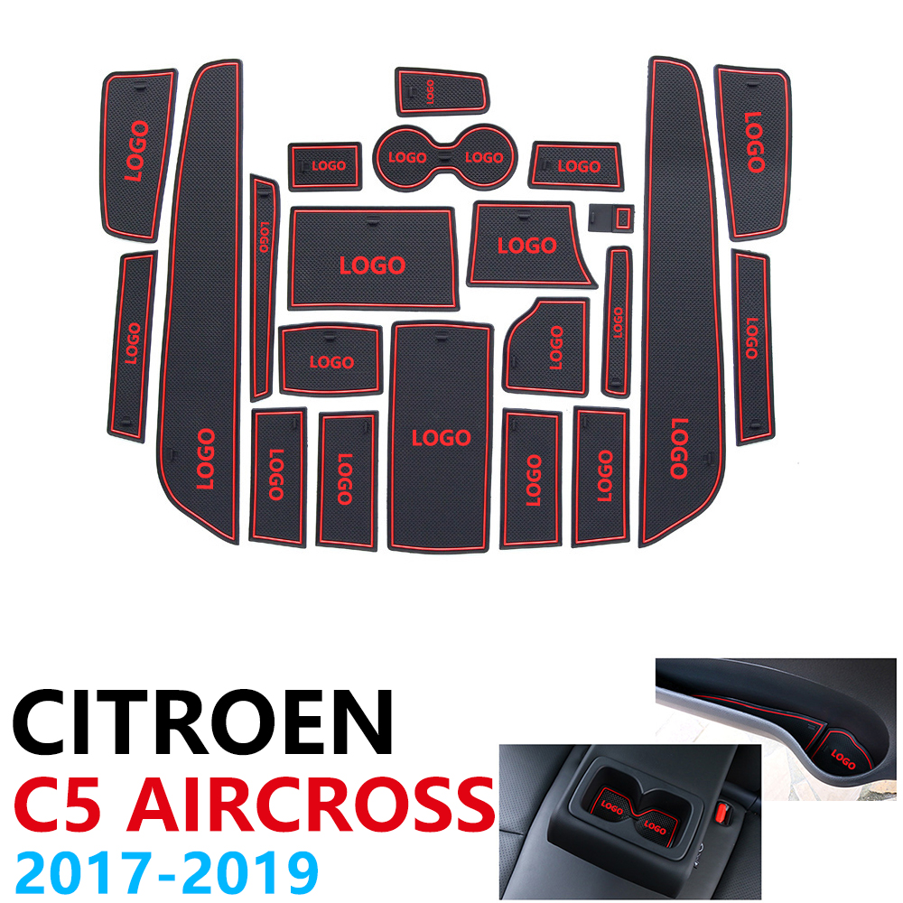 Anti Slip Rubber Cup Cushion Door Groove Mat for Citroen C5 Aircross 2017 2018 2019 22Pcs C5 Aircross Accessories Car Stickers-in Car Stickers from Automobiles & Motorcycles