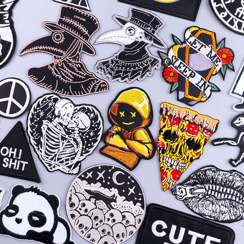 Patches On Clothes Stickers Lantern man Stripes Embroidered Patch For Clothing Iron On Patches Skull Biker Stripes for Jackets