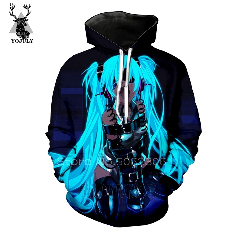 Anime Vocaloid Hatsune 3d Print Mens  hoodies Sweater Sweatshirt  Pullover Tops
