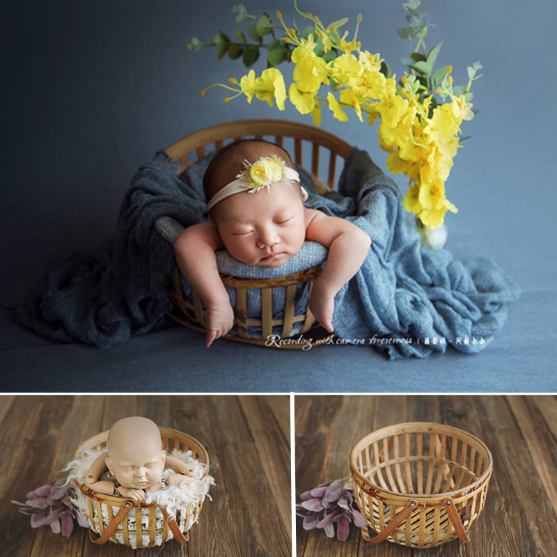 Baby Props For Photography Newborn Retro Bamboo Hollow Basket Bed Baby Photography Studio Accessories For Newborn Props Baby Boy