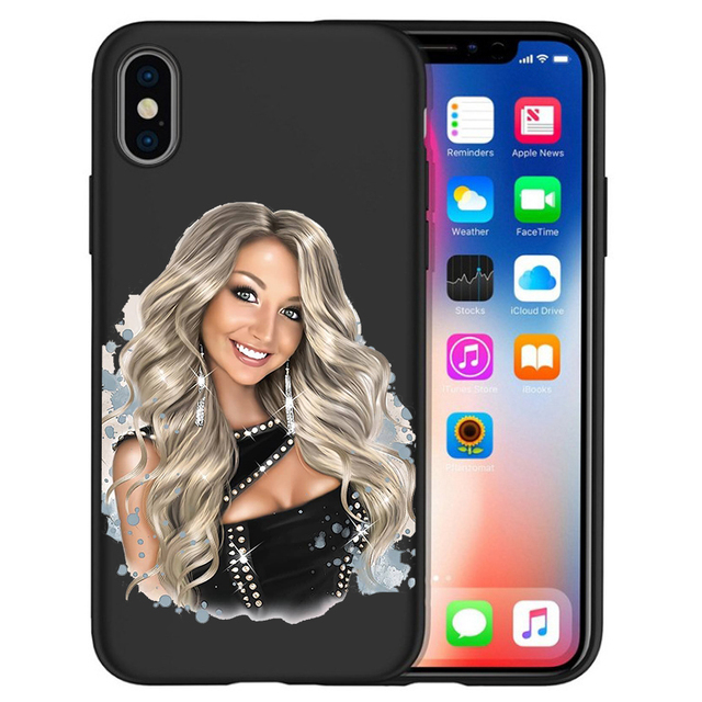 Fashion Sexy Beauty with long hair Black Phone Case For iPhone 11 Pro Max XS Max XR X 8 7 6S Plus 5S Soft Phone Case Cover Etui