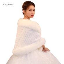 Fur Shawl Jackets Capes Shrugs Boleros Party-Dress Bridal-Wrap Wedding White Winter Coat