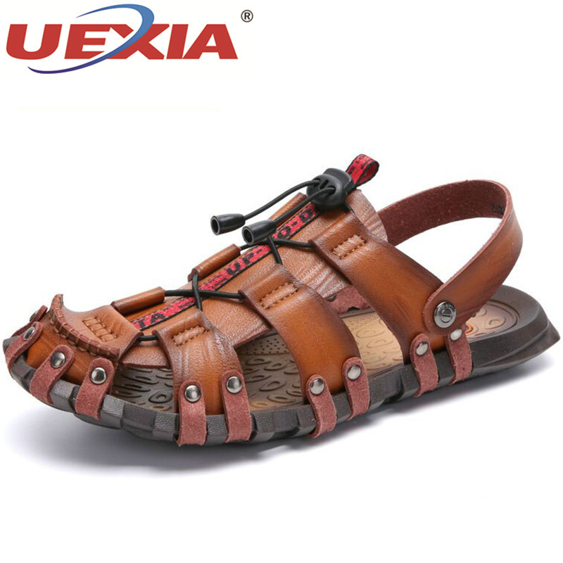 UEXIA New Summer Men Sandals Breathable Leather Men Beach Sandals Brand Men Casual Shoes Comfortable Slip-on Casual Cheap Shoes