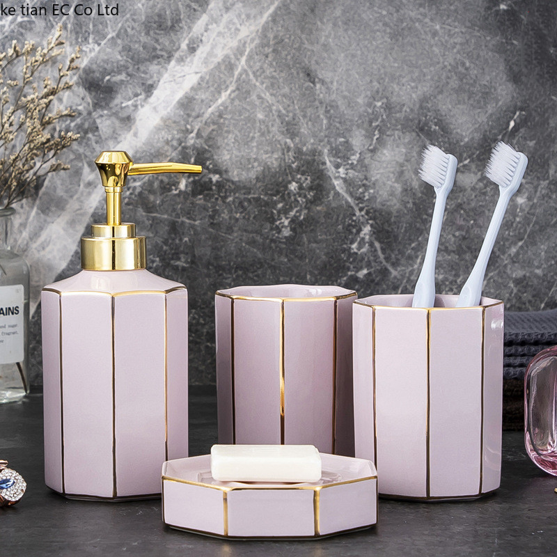European light luxury simple pink bathroom ceramic 4 pcs set bathroom supplies lotion bottle toothbrush holder set wedding gift image