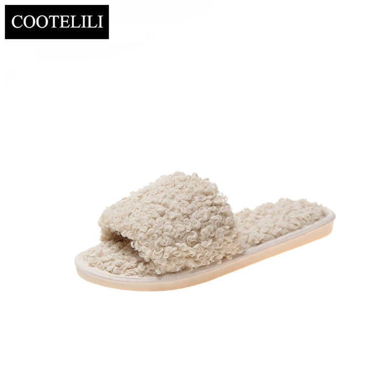 COOTELILI moda kadın terlik ev kapalı peluş terlik sonbahar kış kadın düz ayakkabı bayanlar rahat kürk
