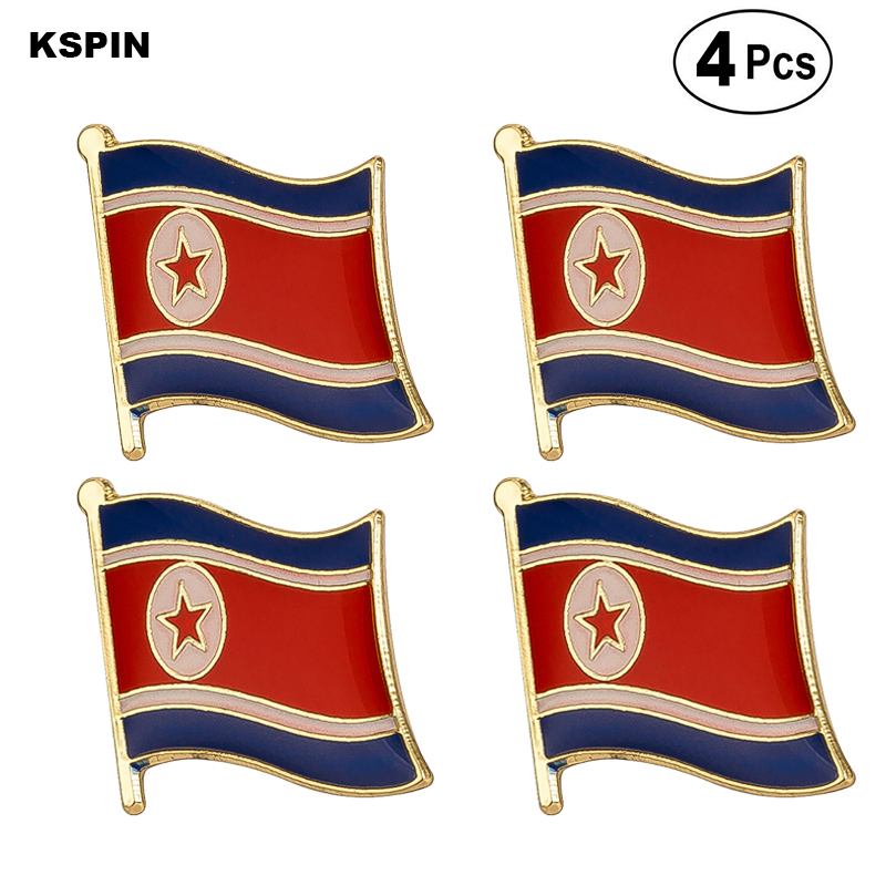 North Korea Flag Pin Lapel Pin Badge Brooch Icons 4PC image