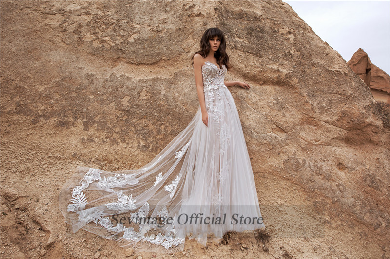 Sevintage Mermaid Boho Wedding Dresses Sweetheart Sleeveless Lace Floor Length Backless Bridal Gowns Vestido De Noiva Princesa