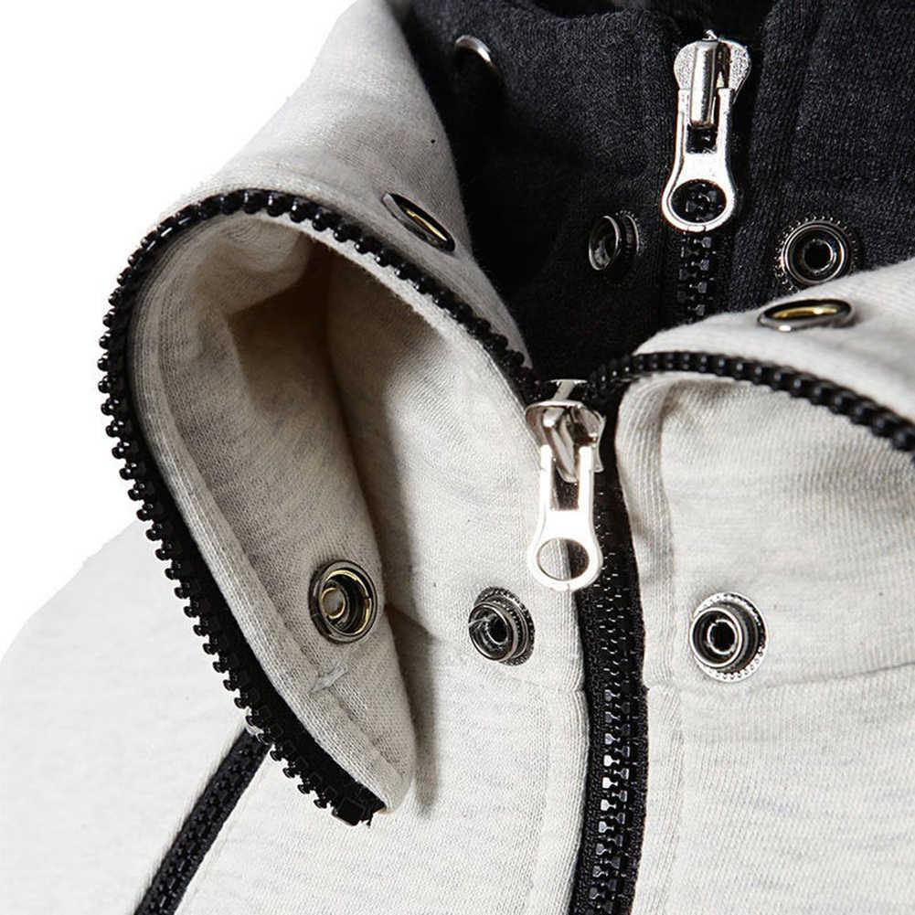 Plus rozmiar bawełna elastan Chic mężczyźni fałszywe 2 sztuk color block bluza z kapturem z długim rękawem kurtka zapinana na zamek płaszcz męska kurtka zimowe męskie płaszcze