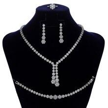 Jewelry Sets HADIYANA Romance Simple Women Wedding Bridal Zirconia Necklace Earrings Ring And Bracelet CN022-1 Conjunto De Joyas