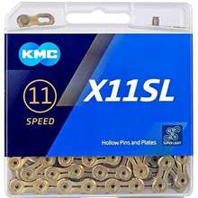 KMC X11SL X11, Super Light 118L Gold / Silver Speed Trekking Links, Titanium Nitride Coated KMC 11S Chain & Missing Link