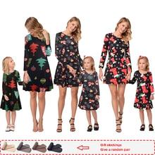 Платье для мамы и дочки, рождественские пижамы, новинка года, осенняя Одинаковая одежда для семьи, одинаковые рождественские пижамы, платья, Рождественская одежда