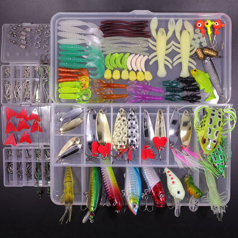 Fishing Lures Kit 234pcs Fishing Lure Baits Life-like Swimbait 3D Fishing Eyes for Bass Trout Salm in Saltwater Freshwater with