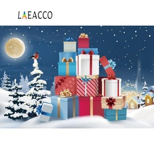 Laeacco Baby Cartoon Christmas Gift Winter Snow Pine Night Photography Backdrops Photographic Backgrounds Photocall Photo Studio