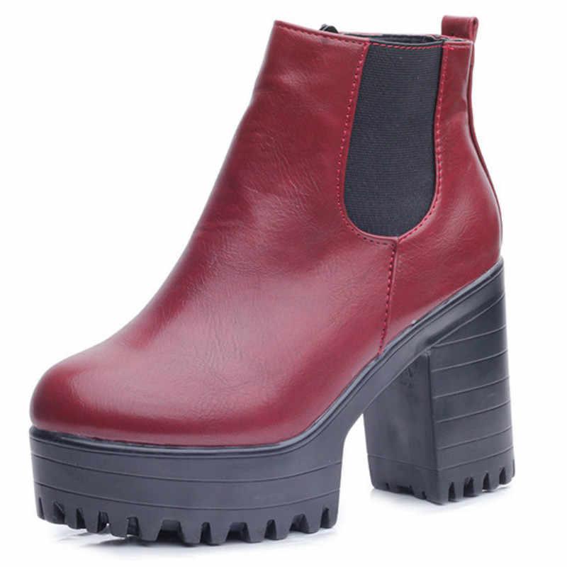 Fujin kare topuk kadın çizmeler platformları Zapatos Mujer PU deri uyluk yüksek pompa botları motosiklet ayakkabı yüksek çizmeler ayak bileği deri