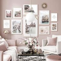 Póster de Arte de paisaje de veneciana Atlántico para sala de estar, pintura en lienzo de Castillo de flores florecientes, imágenes de pared