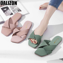 Summer Fashion Lady Women Casual Cross Open Toe Woman Female Mules Loafers Lazy Mujer Zapatos Flat Stuffies Slippers Shoes R282 cap toe flat mules
