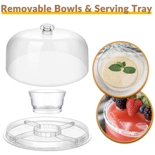 6-in-1 Transparent Acrylic Cake Stand Cake Plate with Dome Multi-Function Serving Platter Salad Bowl