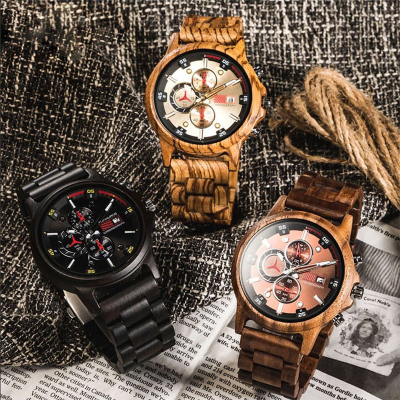 QW Sports Fast Delivery Hot Bamboo Brand Chronograph Wholesale Custom Men Wood Sport Watch
