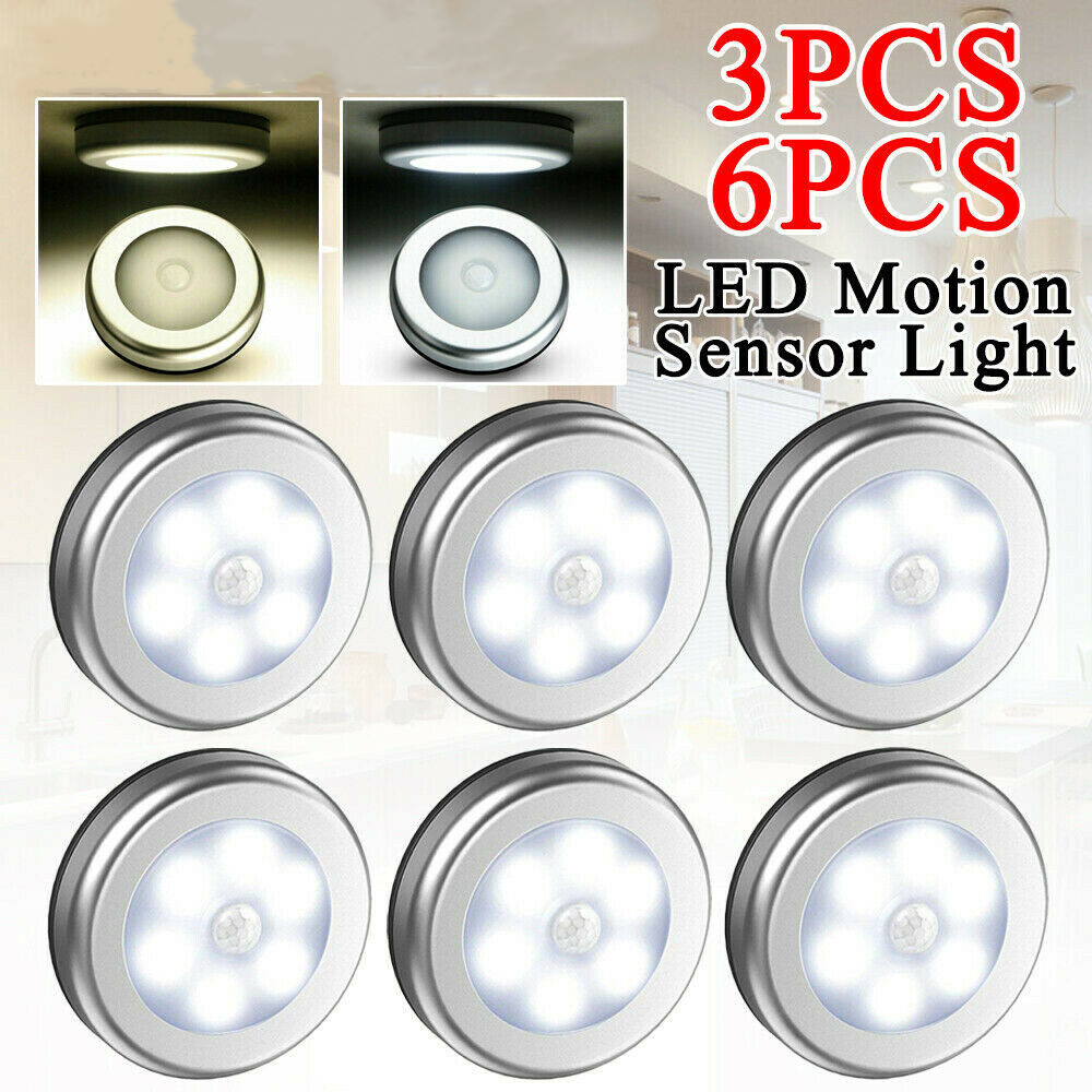 3/6 Pcs Motion Sensor Night Light Round Thin Type Induction Cabinet Night Light 6 LED Magnetic Lamp Motion Sensor Light Battery