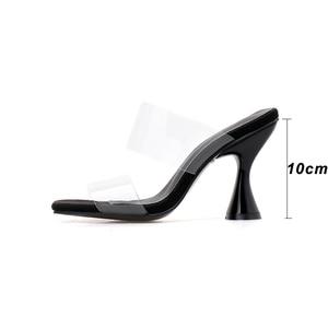 Image 3 - Pzilae moda PVC sandalet kadın kare ayak yüksek topuk ayakkabı şeffaf bant slingback kare ayak rahat yazlık terlik boyutu 42