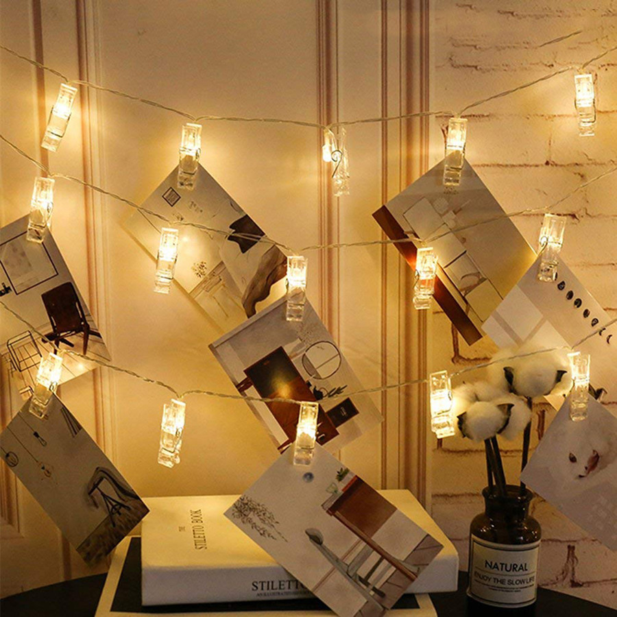 BEIAIDI 3M 6M LED Hanging Picture Photo Peg Clip Fairy String Light Christmas Garland Battery Powered Starry Chain Light String