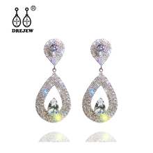 DREJEW Water Drop Pearl Rhinestone Statement Earrings 2019 925 Gold Silver Crystal Drop Earrings for Women Fashion Jewelry HE358 pair of stylish faux crystal pearl water drop earrings for women